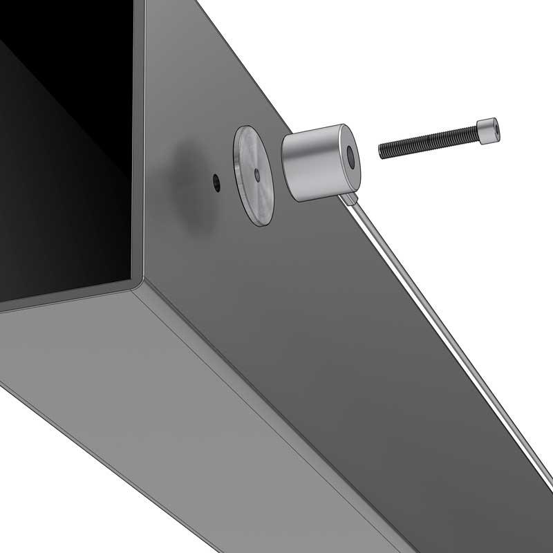 Montagearten – Durchgangsschraube M5 mit Gewinde